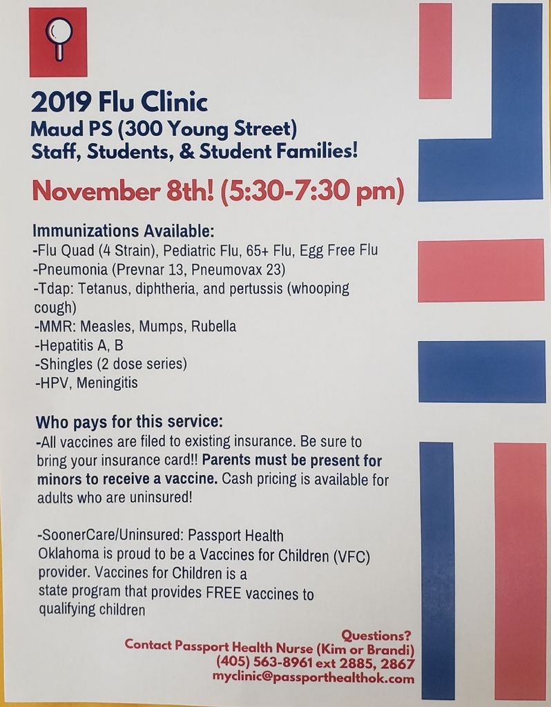 Get your flu shot - Nov. 8th 5:30 - 7:30 PM (at high school)