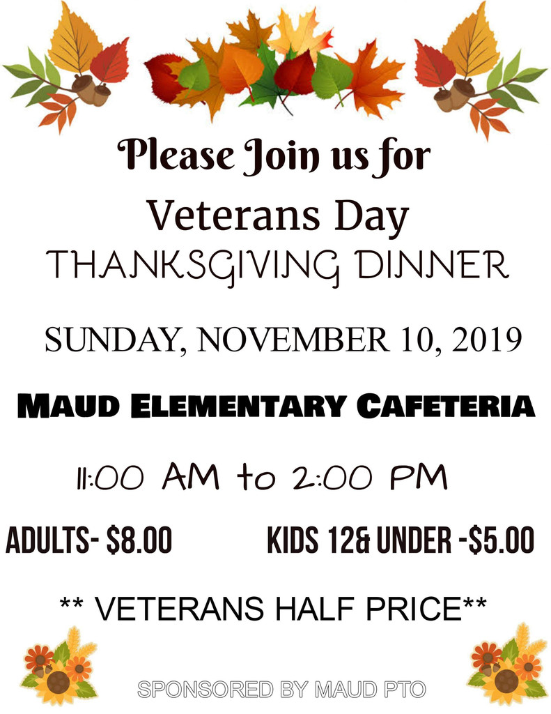 Veterans Day Dinner - Sunday, November 10, 2019  from 11:00 to 2:00  (See flyer)