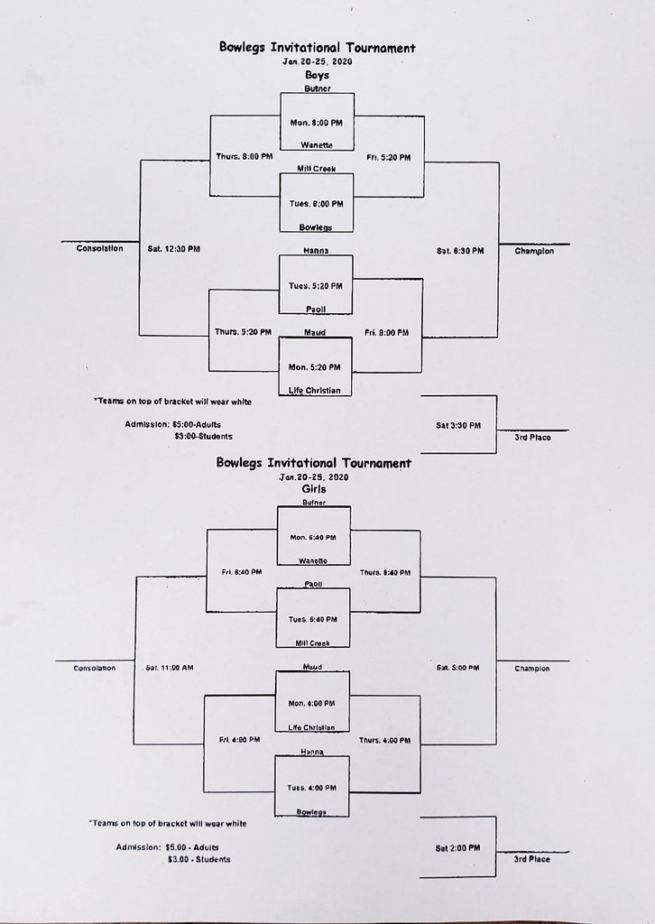 Bowlegs Tourney Jan. 20-25, 2020