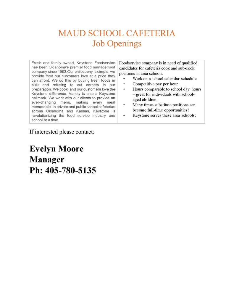 School Cafeteria Job Openings