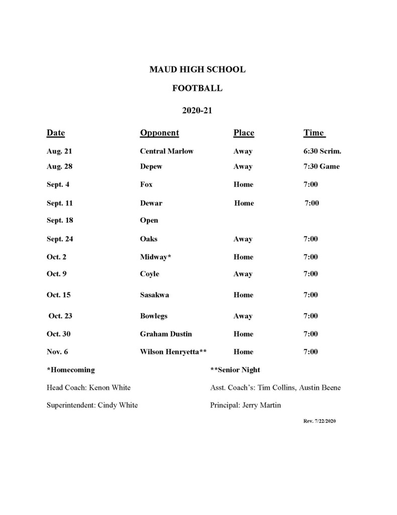 Maud High School Football Schedule 2020